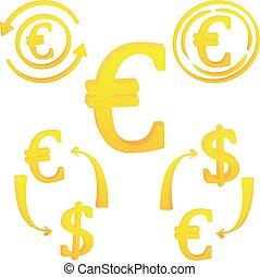 valuta europea, icona, simbolo, euro