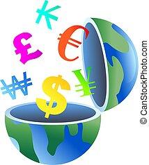 valuta, globo