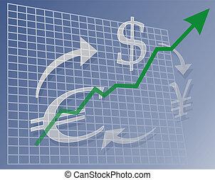 valuta, grafico, su