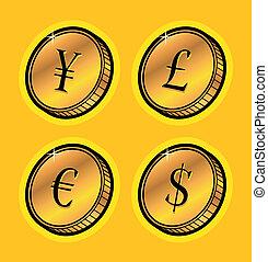 valuta, gyllene, mynter
