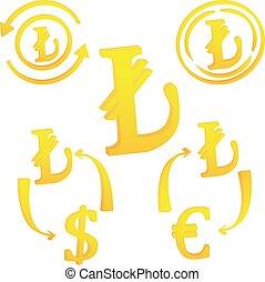 valuta, icona, simbolo, tacchino, turco, lira