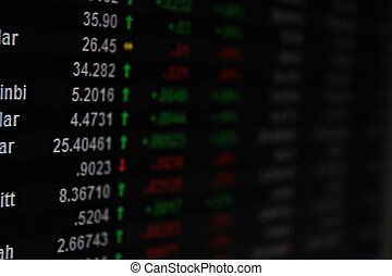 valuta, koers, display, monitor, verwisselen