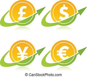 valuta, muntjes, richtingwijzer