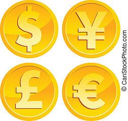valuta, mynter, guld