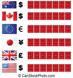 valuta, tarieven, plank