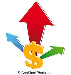 valuta, tillväxt, ikon