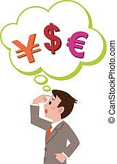 valuta, uomini affari, straniero