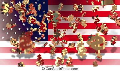 valuta, vlag, -, dollar