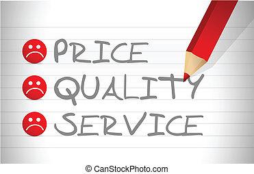 valutare, qualità, servizio, prezzo