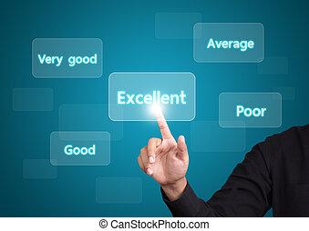 valutare, uomo, qualità, eccellente