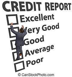 valutazione, affari, su, credito, punteggio, costruire, uomo