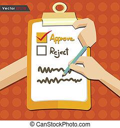 valutazione, approvare, assegno, qualità