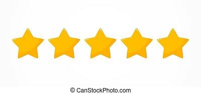 valutazione, cinque, qualità, stelle, icona