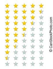 valutazione, cinque, stelle