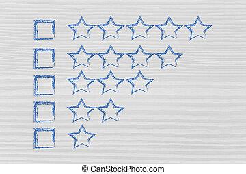 valutazione, e, feedback, su, assistenza clienti,...