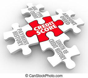 valutazione, fattori, confondere pezzi, credito, punteggio, pagamento, storia