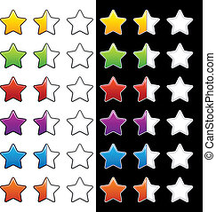 valutazione, mezzo, vettore, stelle, vuoto, intero