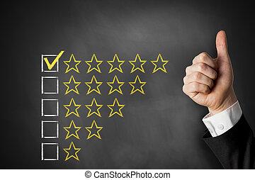 valutazione, pollici, stelle, su