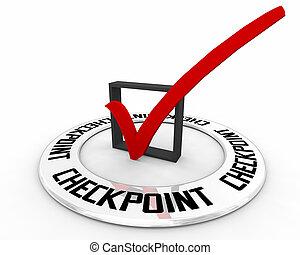 valutazione, posizione, marchio, punto, punto controllo, 3d, illustrazione, prova, assegno, esame, scatola