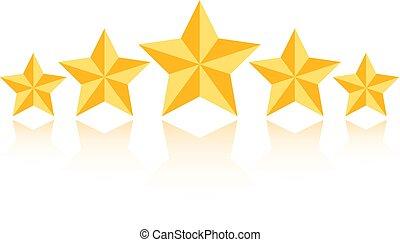 valutazione, prodotto, stella, vettore, cinque, icona