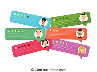 valutazione, revisione, vettore, bolla, speeches.