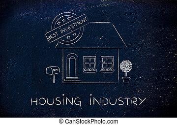 valutazione, &, segno, casa, alloggio, investimento, 5, stelle, industria, meglio