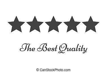 valutazione, simbolo, cinque, qualità, stelle