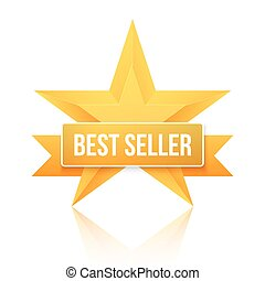 valutazione, stella, oro, cima, venditore, fondo., vettore, cinque, stelle, meglio