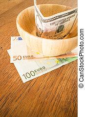 valute, legno, nota, tavola, internazionale, banca