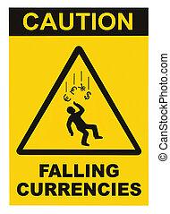 valute,  macro, isolato, segno, avvertimento, attenzione, Cadere