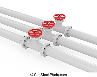 Valve - 3d render of pipelines on white background