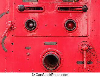 Valve control of fire truck look like human face