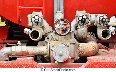 Valve control on fire truck or fire engine