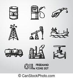 valve., ensemble, icônes, -, essence, huile, handdrawn, vecteur, station, camion, baril, pétrolier, installations, plante