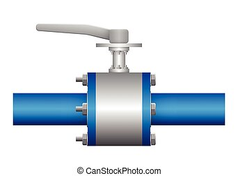 Valve - Illustration of valve and steel pipe, blue color.