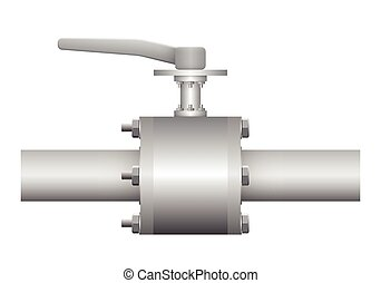 Illustration of valve and steel pipe, gray color.