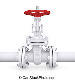 Valve on the pipeline. Isolated render on a white background