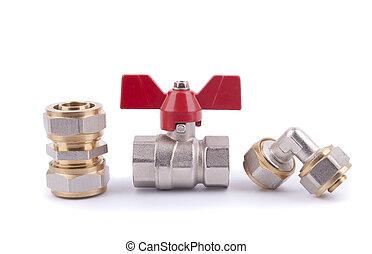 valve., pelota, metal, equipo, partes, sanitario
