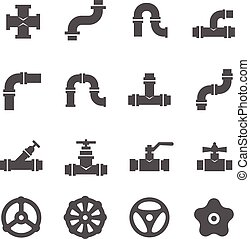 Valve, taps, pipe connectors, details vector icons set