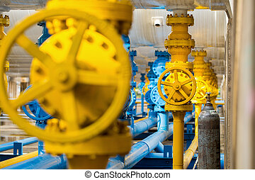 Valves at gas plant, Pressure safety valve selective focus....