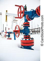 valves, de, huile, production, ligne.