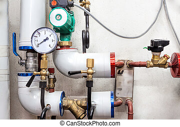 Valves of a heating system - Heating pipes system with...