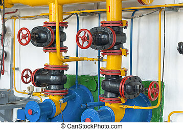 Valves of gas supply to industrial boilers steam boiler.