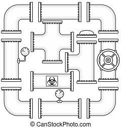 valves, pipeline, canaux transmission, casquettes, courbe, coudes, kit, vecteur, construction, inclure, manometers