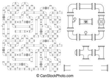 valves, pipeline, parties, courbe, coudes, kit, tuyau, casquettes, vecteur, inclure, construction., manometers