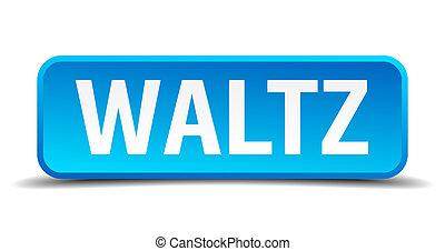 valzer, blu, 3d, realistico, quadrato, isolato, bottone