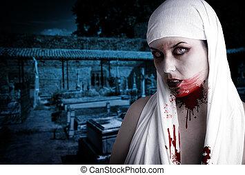 vampira, com, sangue, manchas, em, um, cemetery., gótico,...