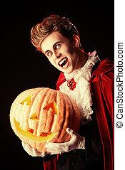 vampire and pumpkin