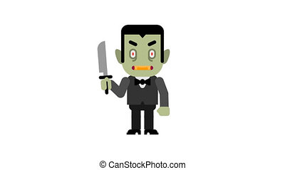 Vampire angry stomping and clenching teeth. Halloween...