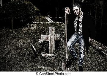 Vampire at Cemetery